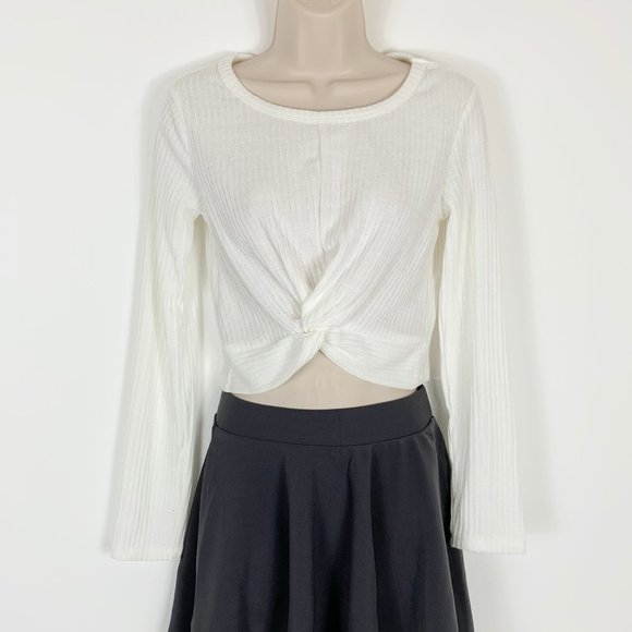 3/$25 Crop Top Long Sleeve White RibKnit Shirt